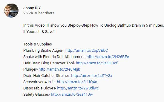 Jonny affiliate links in the Youtube description